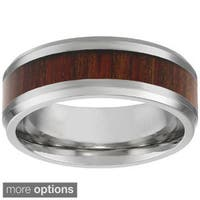 Stainless Steel Men's Ring with Wooden Inlay