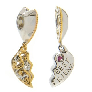 Michael Valitutti Palladium Silver 2-piece Ruby Heart Charm
