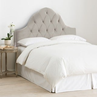 Skyline Furniture Arch Tufted Headboard in Velvet Light Grey