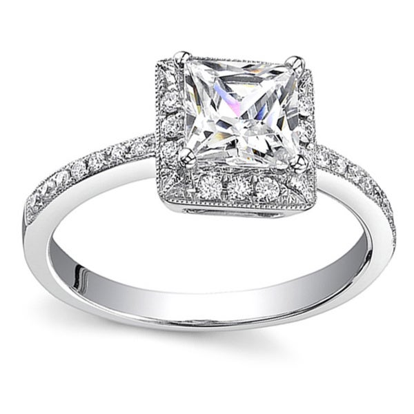 18k White Gold 1 1/5ct TDW Diamond Halo Engagement Ring