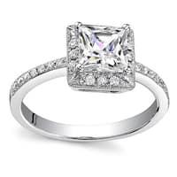 18k White Gold 1 1/5ct TDW Diamond Halo Engagement Ring