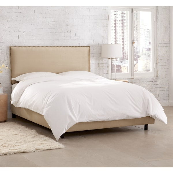 Skyline Furniture Burling Nail Button Border Bed in Micro-Suede Oatmeal