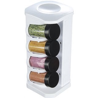 KitchenWorthy White Revolving Spice Rack