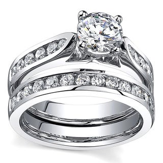 18k White Gold 1 2/3ct Certified Diamond Bridal Set (H-I, SI1-SI2)