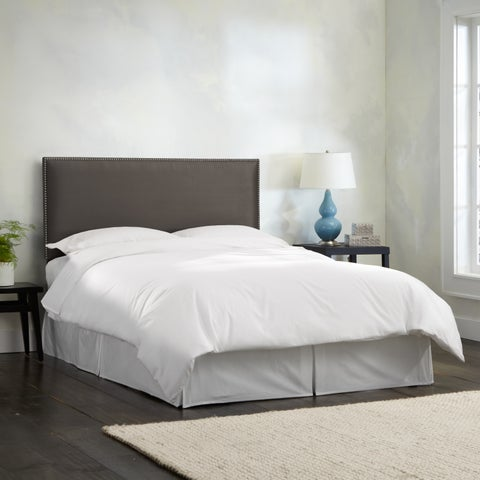 Skyline Furniture Burling Nail Button Border Headboard in Micro-Suede Charcoal