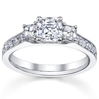 14k White Gold 1 1/2ct TDW Asscher Diamond Engagement Ring (H-I, VS1-VS2)