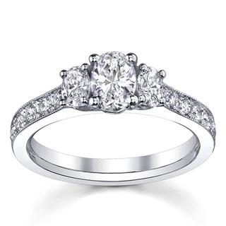 14k White Gold 1 1/2ct TDW 3-stone Engagement Ring