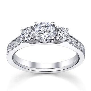 14k White Gold 1 1/2ct TDW Round Diamond Engagement Ring