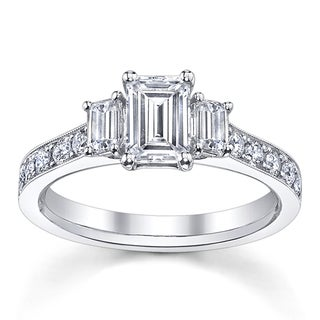 14k White Gold 1 1/2ct TDW Emerald-cut Diamond Engagement Ring