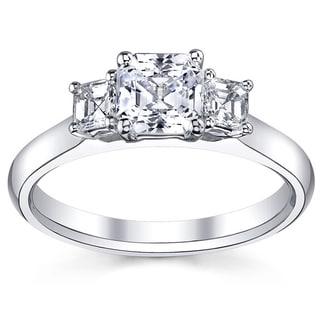 14k White Gold 4/5ct TDW Diamond Asscher-cut Three-stone Engagement Ring (H-I, VS1-VS2)