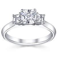 14k White Gold 4/5ct TDW Diamond Asscher-cut Three-stone Engagement Ring