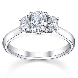14k White Gold 3/4ct TDW Diamond 3-stone Engagement Ring