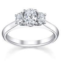 14k White Gold 3/4ct TDW Diamond 3-stone Engagement Ring