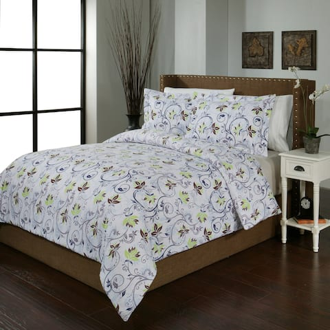 Pointehaven Heavy Weight Printed Flannel Duvet Set