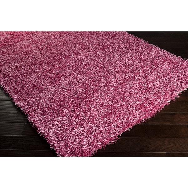 Hand-woven Meghan Pink Shag Polyester Rug (1'9 x 2'10)