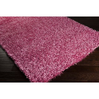 Hand-woven Meghan Pink Shag Polyester Rug (1'9 x 2'10)