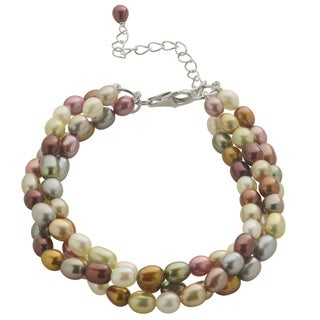 Pearls For You Sterling Silver 3-strand Multi-colored Freshwater Pearl Bracelet (4-5 mm)