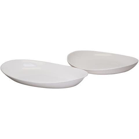Red Vanilla Butterfly Platters (Set of 2)