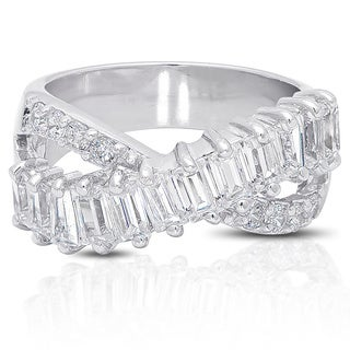 Dolce Giavonna Silver Overlay Cubic Zirconia Ring