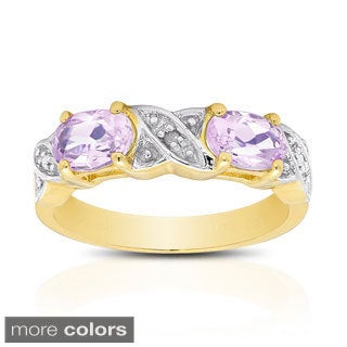 Dolce Giavonna Gold Over Sterling Silver Gemstone and Diamond Accent XO Ring