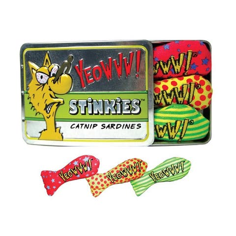 Yeowww Stinkies Catnip Sardine Cat Toys (3-pack) - Yellow