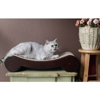 Merry Products Wood Veneer Cat Scratcher Bed