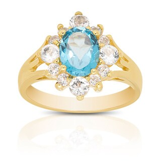 Dolce Giavonna Gold Over Sterling Silver Blue and White Topaz Ring