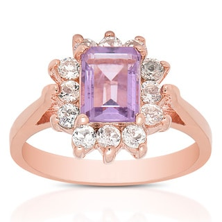 Dolce Giavonna Gold Over Sterling Silver Amethyst and White Topaz Gemstone Ring