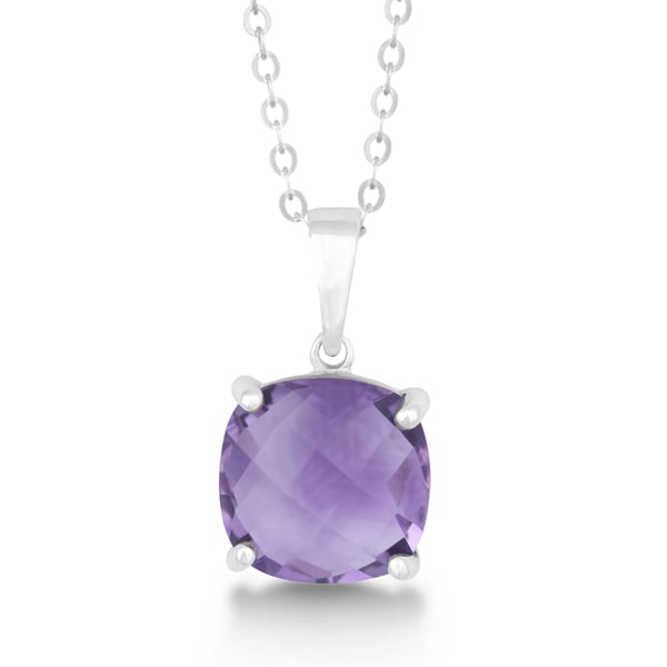 La Preciosa Sterling Silver Faceted Amethyst Gemstone Cushion-cut Pendant