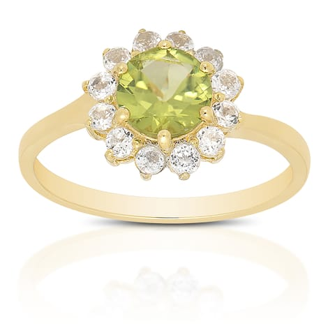 Dolce Giavonna Gold Over Sterling Silver Peridot and White Topaz Gemstone Ring