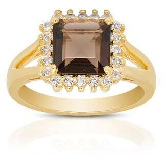Dolce Giavonna Gold Over Sterling Silver Smokey Quartz and White Topaz Gemstone Ring