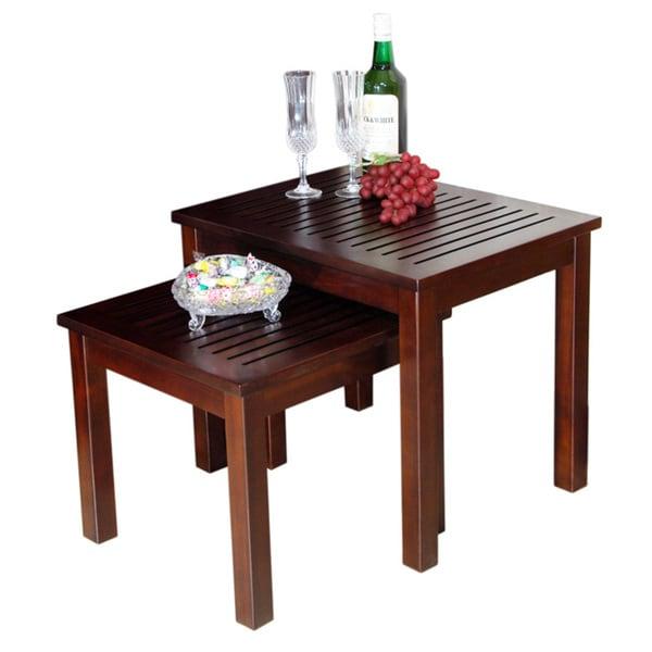 D art dark brown mahogany nesting table set indonesia