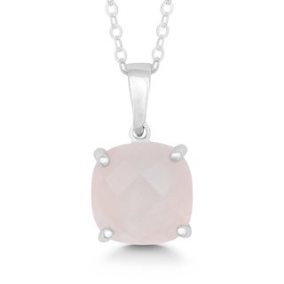 La Preciosa Sterling Silver Faceted Rose Quartz Cushion-cut Pendant