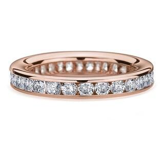 Amore 14k/ 18k Rose Gold 1 1/2ct TDW Channel-set Diamond Wedding Band