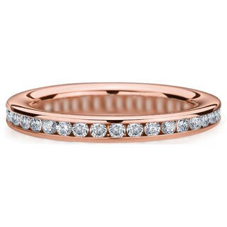 Amore 14k or 18k Rose Gold 1/2ct TDW Channel Set Diamond Wedding Band