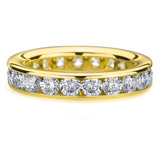 Amore 14k or 18k Yellow Gold 3ct TDW Channel Set Diamond Wedding Band (G-H, SI1-SI2)