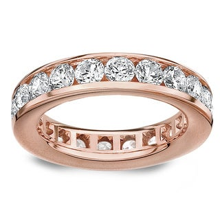 Amore 14k/ 18k Rose Gold 3ct TDW Channel-set Diamond Wedding Band (G-H, SI1-SI2)