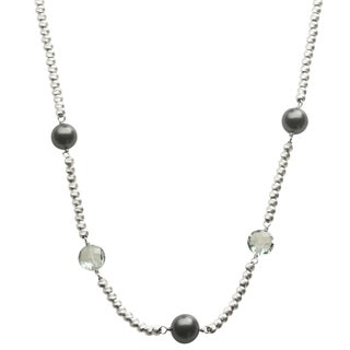 Pearls For You Sterling Silver Tahitian Pearl/ Blue Topaz Diamond Cut Bead Necklace (8-9 mm)