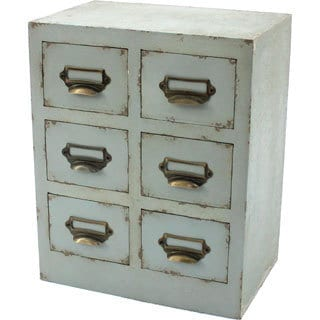 Distressed Green 6-drawer Table Top Cabinet
