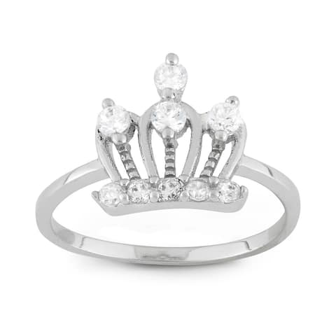 Junior Jewels Sterling Silver Cubic Zirconia Royal Crown Ring Size - 3