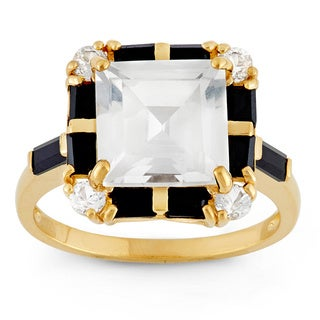 Gioelli Sterling Silver Yellow Gold Plated Created White Sapphire And Black Spinel Ring