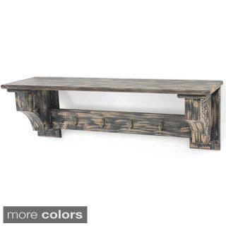 Distressed Wood Shelf with Four Hooks|https://ak1.ostkcdn.com/images/products/9562573/P16743711.jpg?impolicy=medium