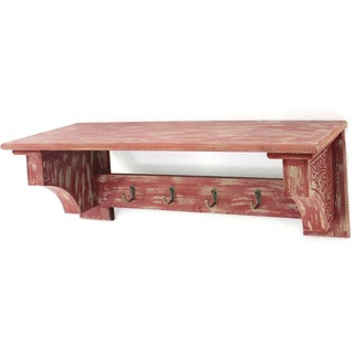 Distressed Wood Shelf with Four Hooks