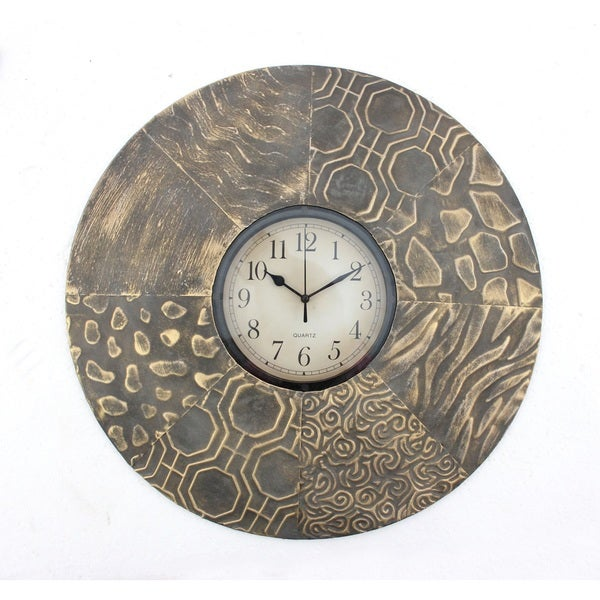 Round Textured Metal Wall Clock (Set of Two)