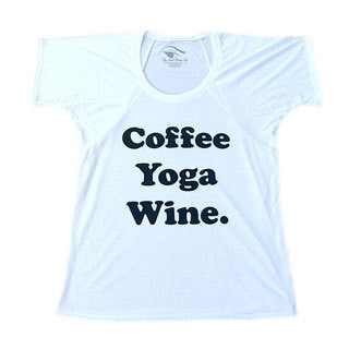 3rd Culture Style 'Coffee Yoga Wine' Women's White Flowy Raglan Short-sleeve Activewear Graphic T-shirt