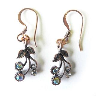 Palmtree Gems 'Babette' Copper Flower Dangle Earrings