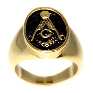 Antiqued Goldtone Masonic Insignia Ring