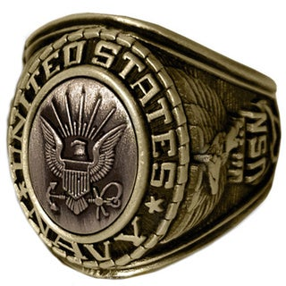 Antiqued Goldtone United States Navy Insignia Ring