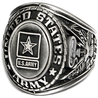 Antiqued Silvertone US Army Insignia Ring