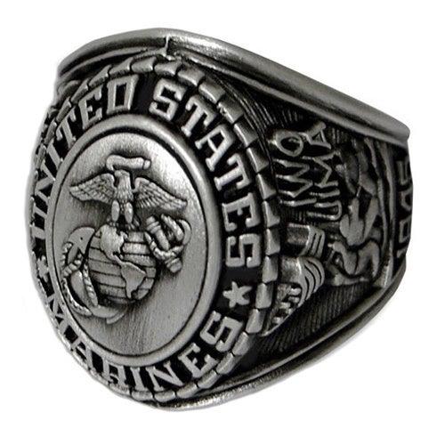 Antiqued Silvertone United States Marines Insignia Ring